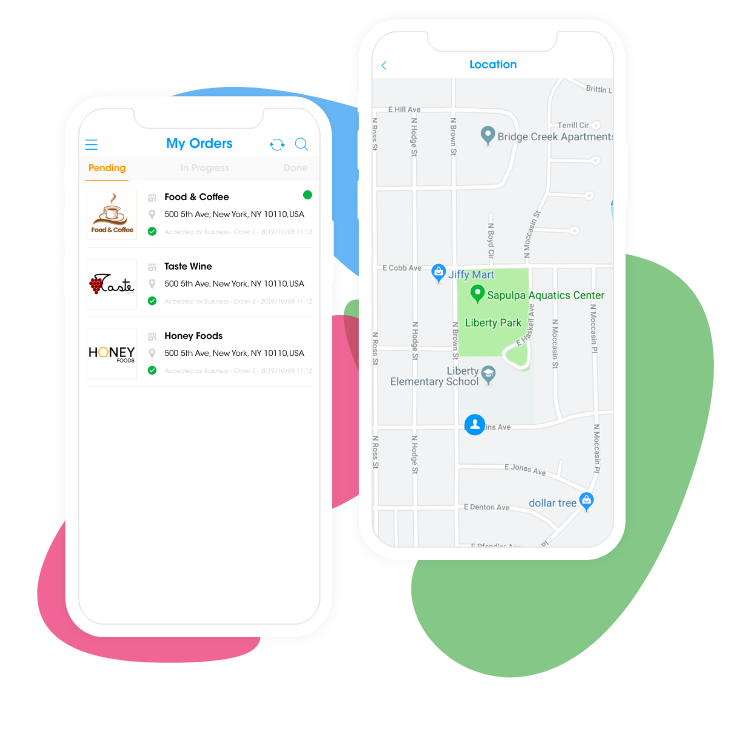 Ordering |  Delivery App Orders List and Map